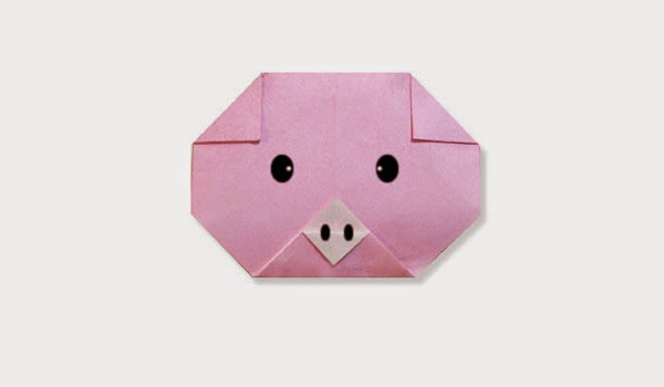 Origami Tutorials - How to make a paper baby Pig's face