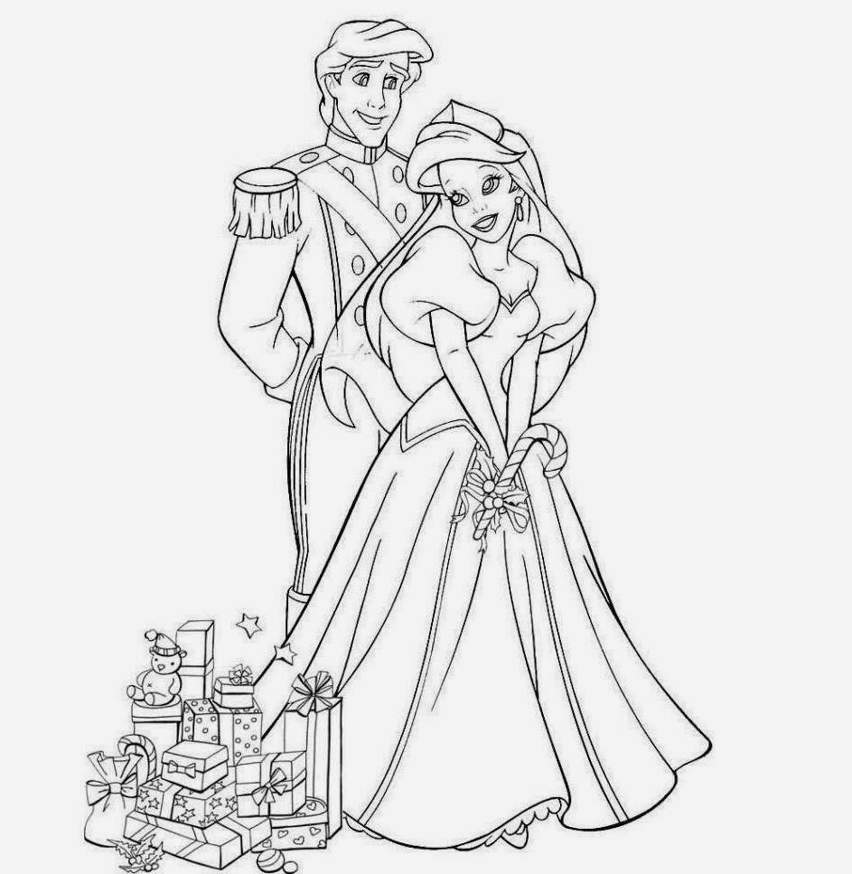 colour drawing free wallpaper  disney princess ariel and prince eric coloring drawing free wallpaper