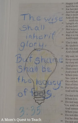 """""""The wise shall inherit glory, But shame shall be the legacy of fools"""" bible journaling image; with drawn light bulb"""