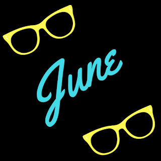 'June' title image with black background and yellow sunglass frames