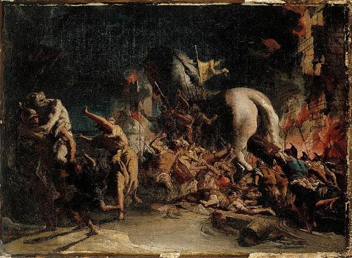 Domenico Tiepolo, I Greci entrano a Troia, 1750 circa (Museo Sinebrychoff)
