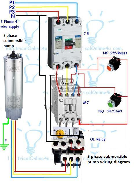 3 phase submersible pump wiring diagram with dol stater electrical rh electricalonline4u com 3 phase water pump wiring diagram GM Fuel Pump Wiring Diagram