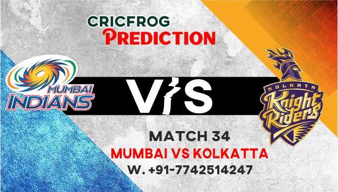 Mumbai vs Kolkatta IPL T20 34th Match 100% Match Prediction & Betting Tips