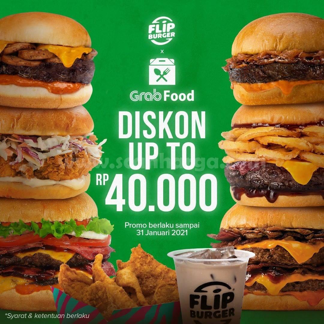 Promo Flip Burger Diskon Rp 50.000 khusus Pesan antar via Grabfood 13 desember - 31 Januari 2021