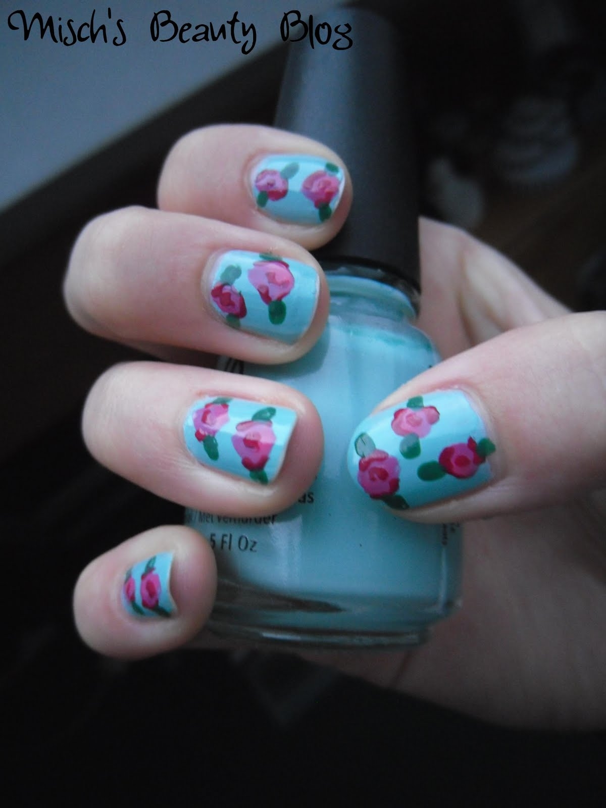 Rose Nail Net: Misch's Beauty Blog: Picture Tutorial: Vintage Rose Nail Art