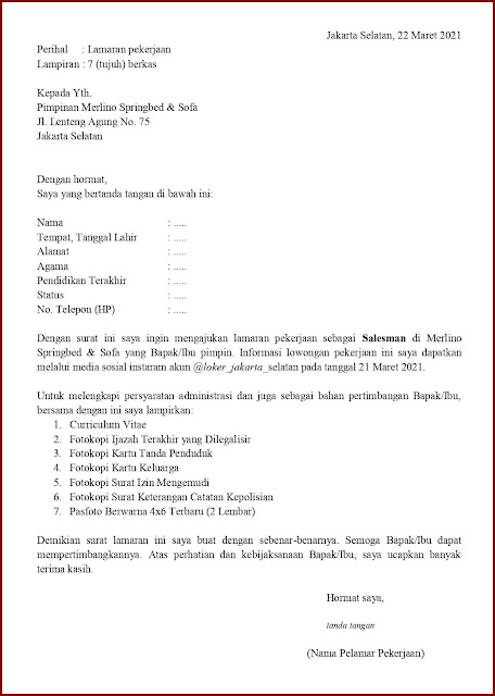 Contoh Application Letter Untuk Salesman (Fresh Graduate) Berdasarkan Informasi Dari Media Sosial