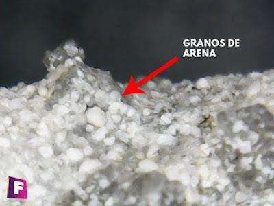 granos de arena presentes en las fulguritas vista desde el microscopio