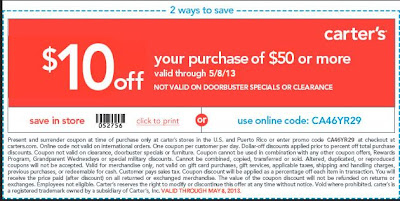 Carters Online Coupon Code