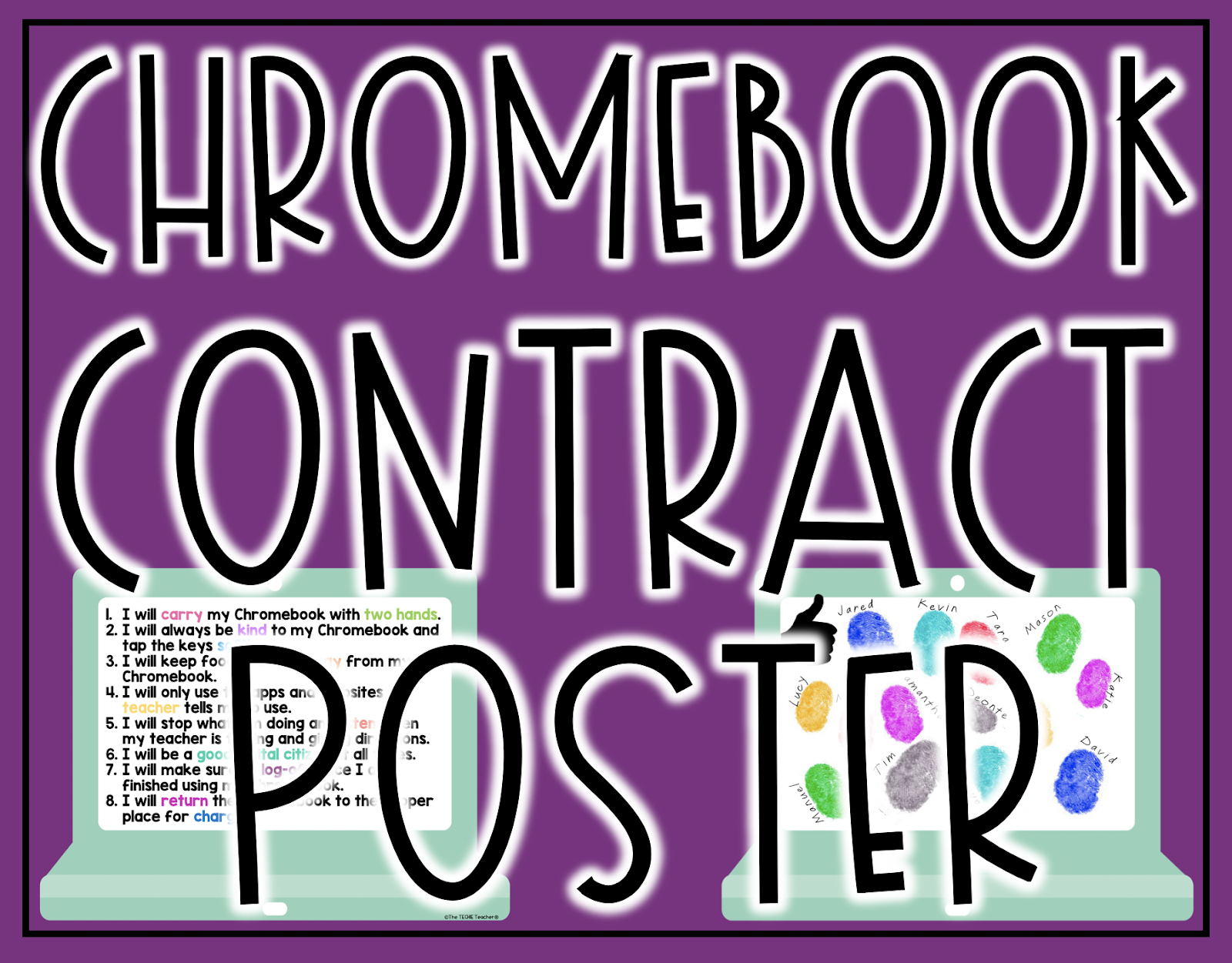 Chromebook Rules Poster to establish classroom expectations when it comes to using technology. Options for a Chromebook Contract, Chromebook Covenant and Chromebook Commitment are all included!