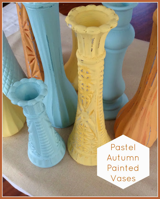 Pastel Autumn Painted Vases | how to simply paint old vases to give them new life!  These are perfect for fall decor! | #diy #craft #homedecor #fall #autumn