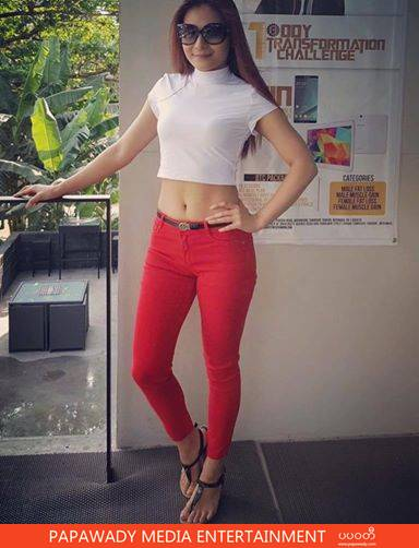 Khin Lay Nwe In Red Jean and White T-Shirt Fashion Snaps