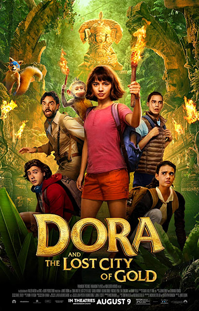 Movie poster for Paramount Players and Nickelodeon Movies's 2019 family adventure film Dora and the Lost City of Gold, starring Isabela Moner, Michael Pena, Eva Longoria, Eugenio Derbez, Danny Trejo, and Benicio del Toro