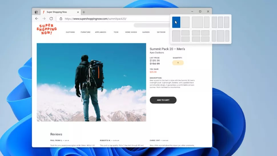 Windows 11 Snap Layouts and Snap Groups
