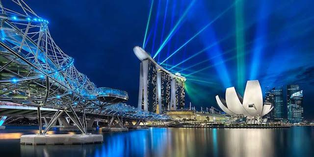 Helix Bridge and Marina Bay