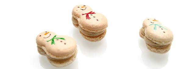 Macarons bonhommes de neige - chantilly au chocolat blanc et au gingembre