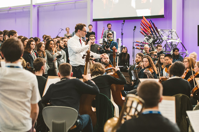 Toby Purser & the Orion Orchestra in a workshop with Acoustic machine created by Dyson Ltd.