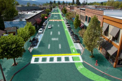 Artist's impression of Solar Roadways in action