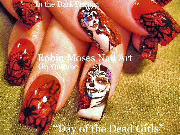 Robin moses nail art day of the dead nails diy fall sugar skull day of the dead mirror chrome nail art and dias de los muertos nails with spiders and glitter prinsesfo Gallery
