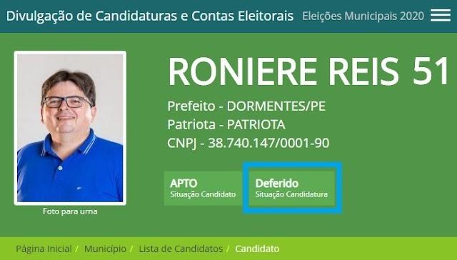 Candidatura a prefeito de Dormentes de Roniere Reis é Deferida pela Justiça Eleitoral