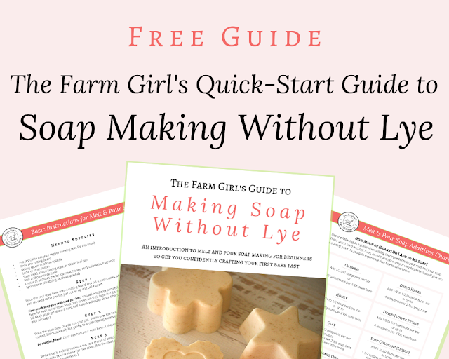 Learn how to make soap without lye with this FREE guide: The Farm Girl's Quick-Start Guide to Making Soap Without Lye