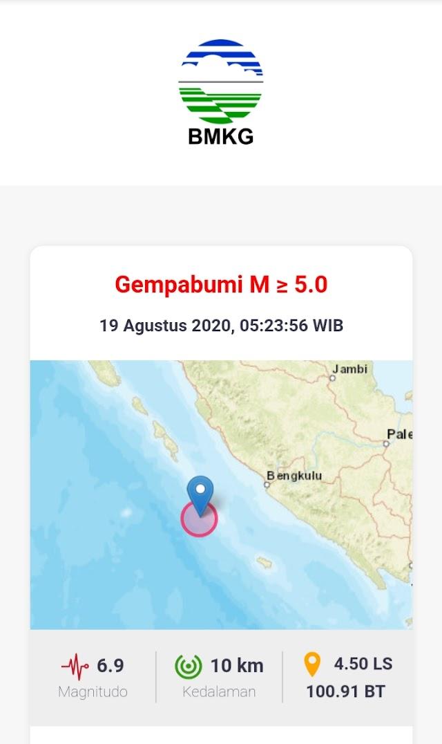 Gempa 6,8 Guncang Bengkulu Terasa Sampai Kerinci - Sungai Penuh