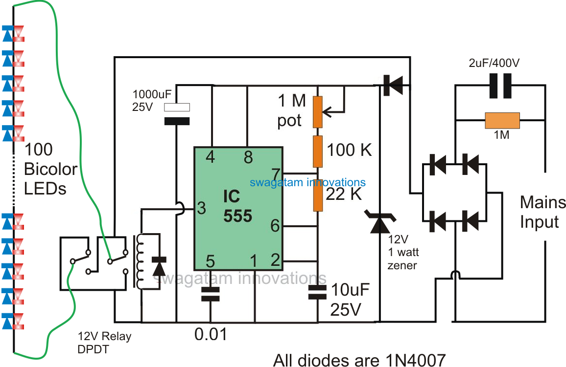 Led Circuit Schematic Unlimited Access To Wiring Diagram Information Of Driver 2 Pin Bi Color Flasher 555 Timer Flashing