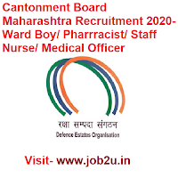 Cantonment Board Maharashtra Recruitment 2020, Ward Boy, Pharrracist, Staff Nurse, Medical Officer