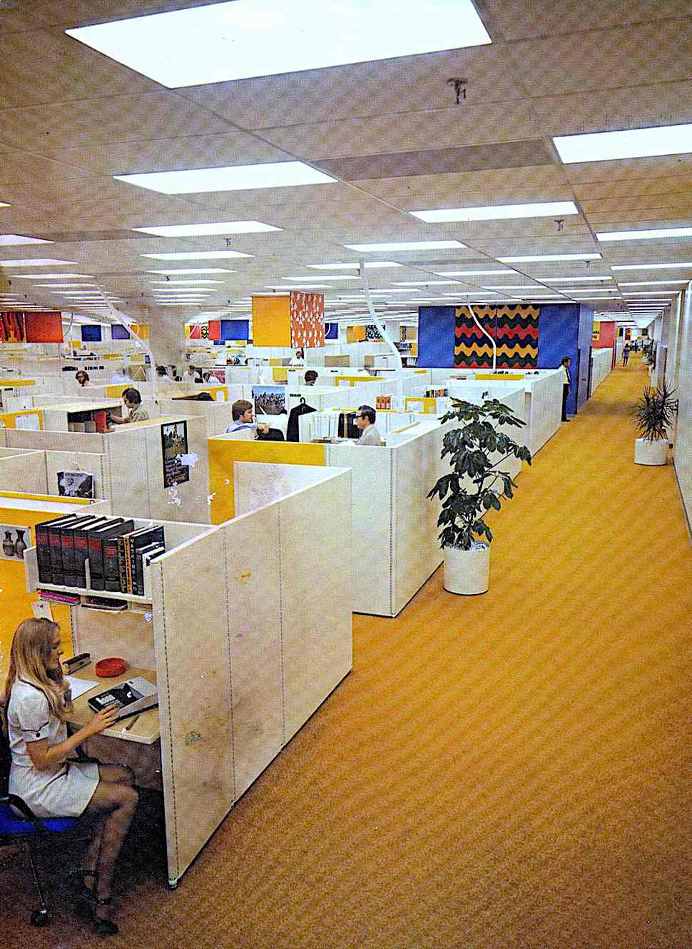 1975 office cubicles and colors, a photograph