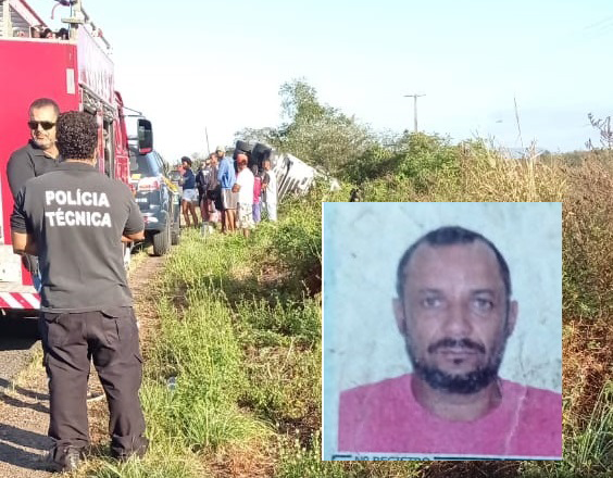 Caminhoneiro morre em acidente na BR-324 em Tanquinho