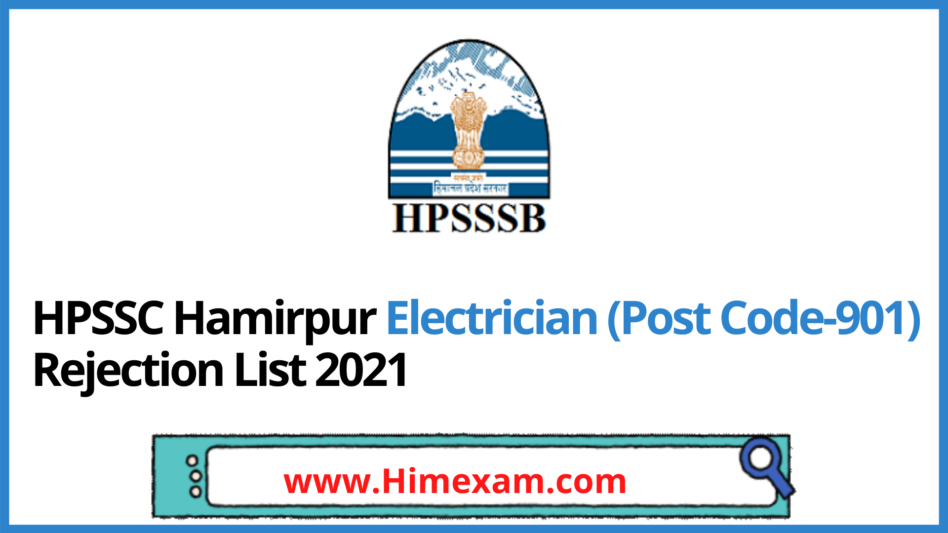 HPSSC Hamirpur Electrician (Post Code-901) Rejection List 2021