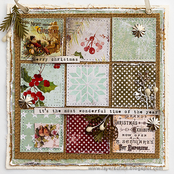 Layers of ink - Christmas Patchwork Wall-hanger by Anna-Karin Evaldsson with Tim Holtz idea-ology