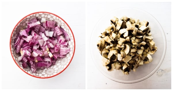A bowl of finely chopped red onion and a bowl of chopped mushooms