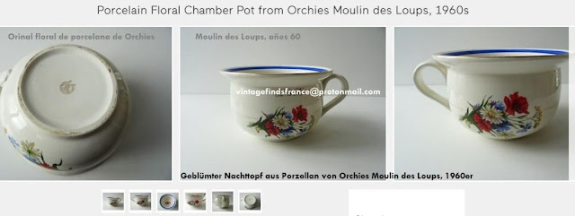 Mid century French Porcelain Floral Chamber Pot from Orchies Moulin des Loups