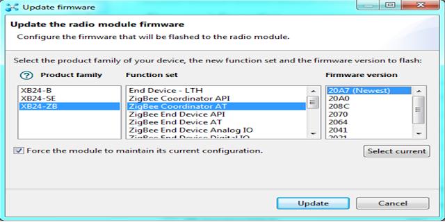 Updating the radio firmware for the COORDINATOR in XCTU to configure Zigbee (Xbee)