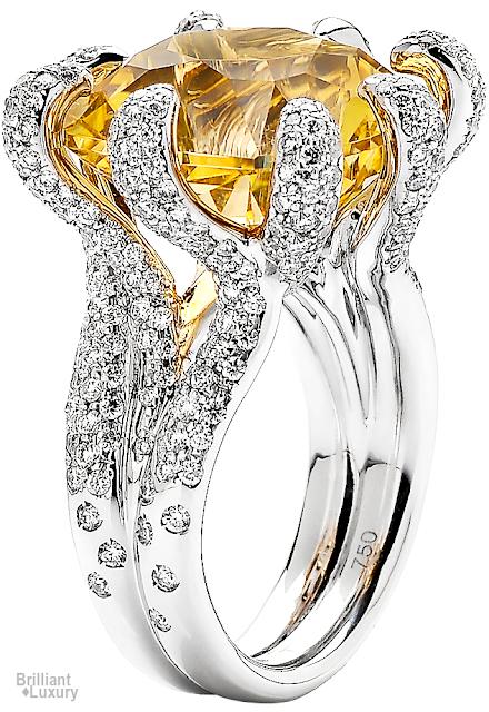 Brilliant Luxury♦Paolo Costagli Yellow Heliodor And Diamond Ring
