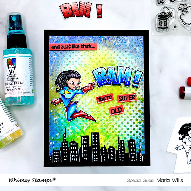 Cardbomb, Maria Willis,Whimsy Stamps,Ranger Ink,Dina Wakley Gloss Sprays,cards, cardmaking, stamps, stamping, ink, paper, papercraft, create, diy, art, color,mixed media,copic coloring,birthday