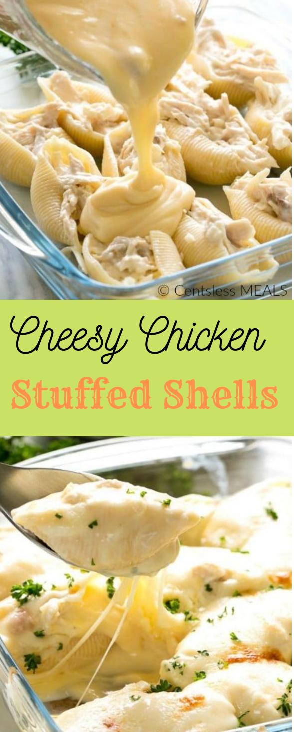 CHEESY CHICKEN STUFFED SHELLS RECIPE #dinner #healthyeating