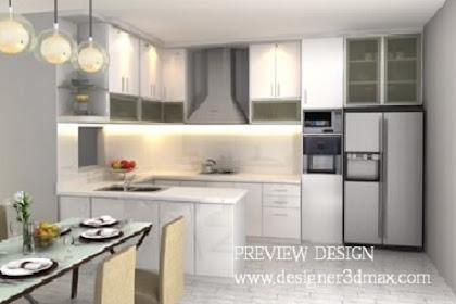 Design 3d kitchenset meja island cooker hood