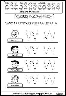 Caligrafando letra W pontilhada