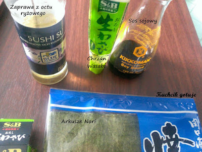 Zaprawa, wasabi, sos sojowy, nori do sushi