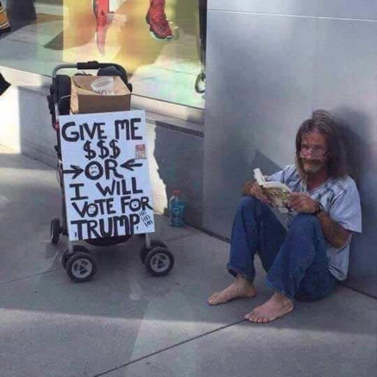 Picture of homeless man threatening to vote Donald Trump goes vural