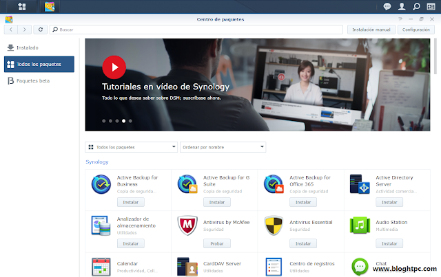 Centro de paquetes Synology DiskStation Manager