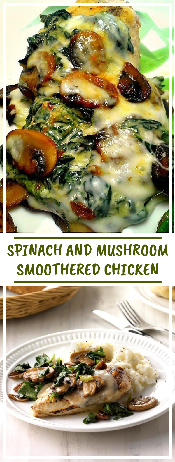Spinach and Mushroom Smothered Chicken #lowcarb #healthyfood