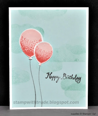 Balloon Celebration, Stampin' Up!, Stamp with Trude, birthday card, CAS
