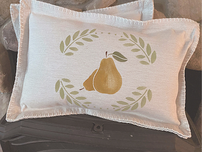 Stenciled pear pillow