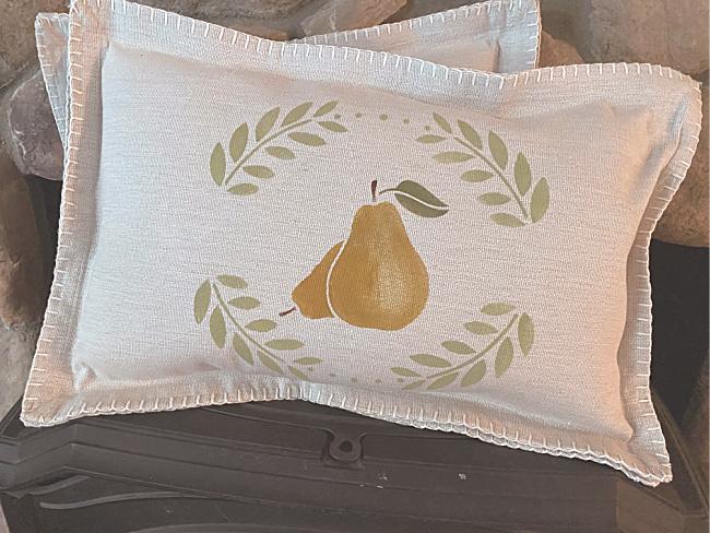 Stenciled pear pillow