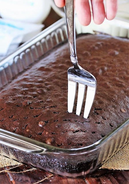 Poking Chocolate Cake with a Fork Image