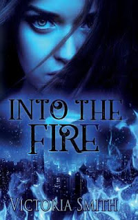 Into the Fire cover; blue, with flames and a city and a woman's face.