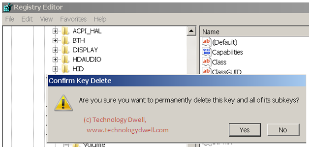 Technology Dwell: Unable to delete a registry key in Windows
