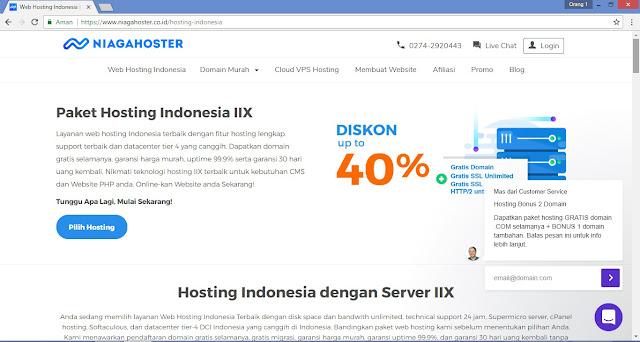 Tampilan website Niagahoster